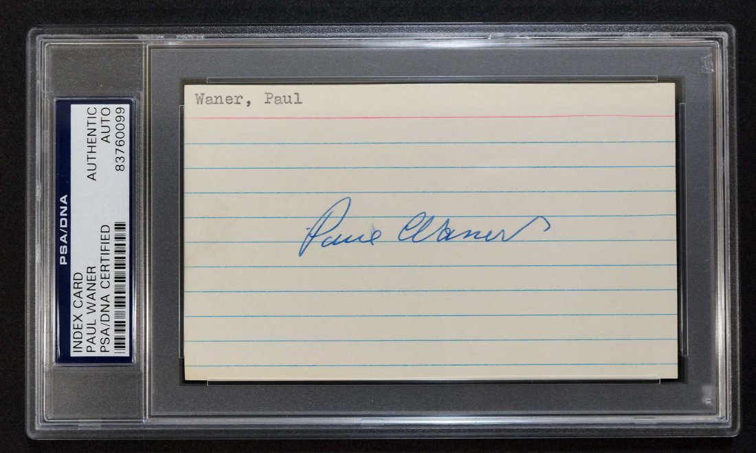 Paul Waner Signed 3'' x 5'' card. PSA/DNA Authentic.