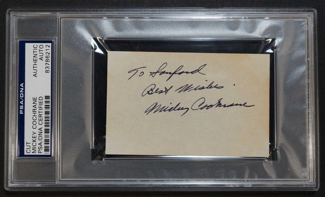 Mickey Cochrane Signed 3'' x 5'' Card. PSA/DNA