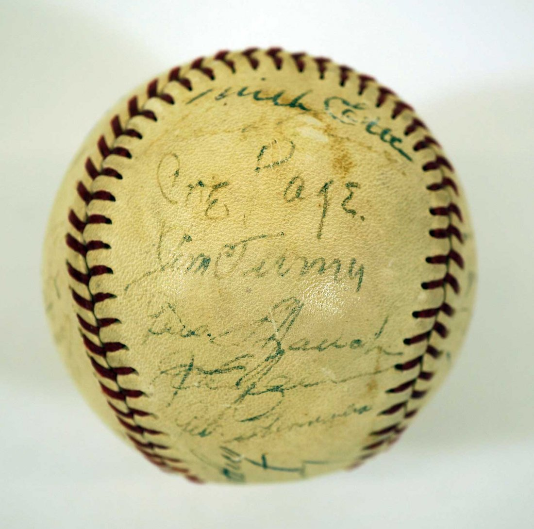 1944 New York Yankees Team Signed Baseball. Contains 27