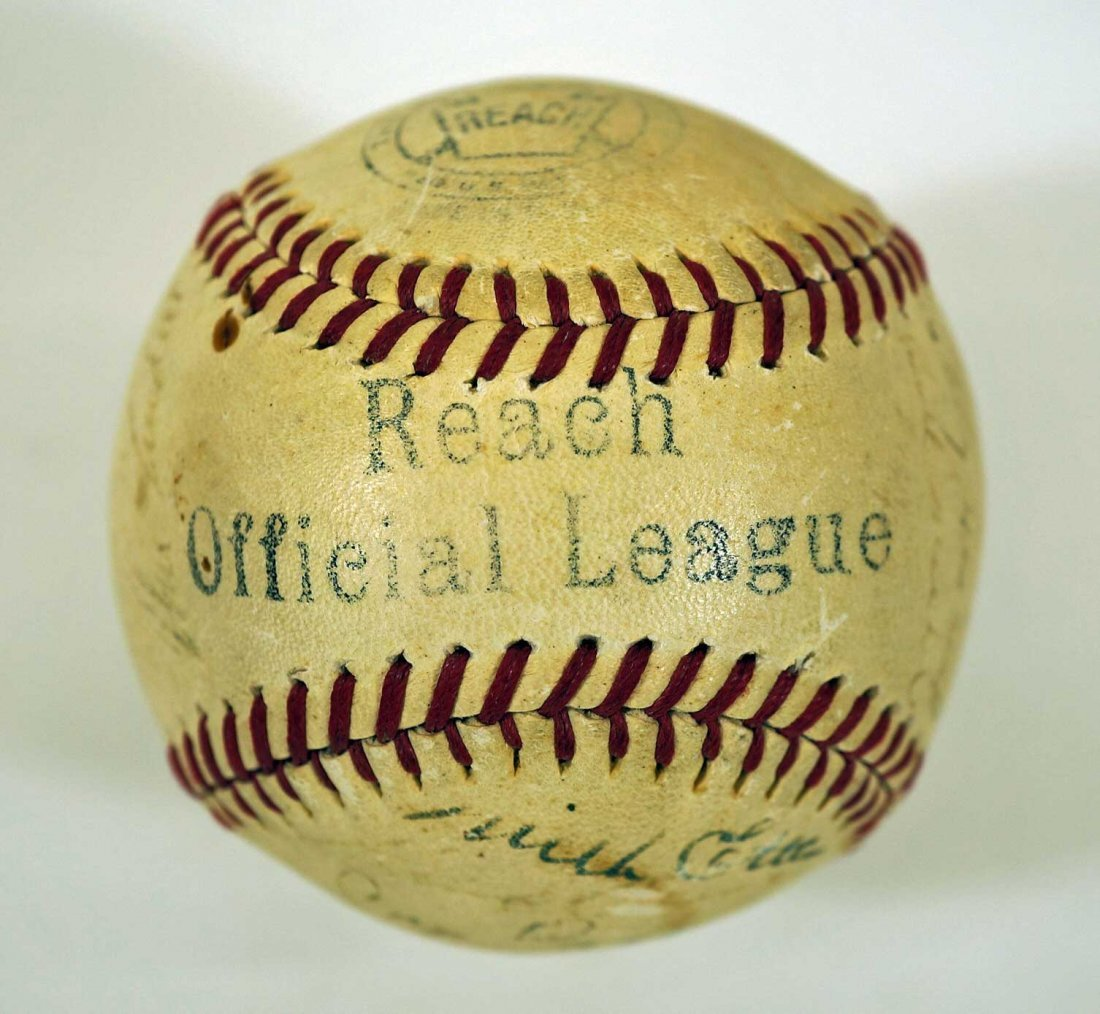 1944 New York Yankees Team Signed Baseball. Contains 27 - 2