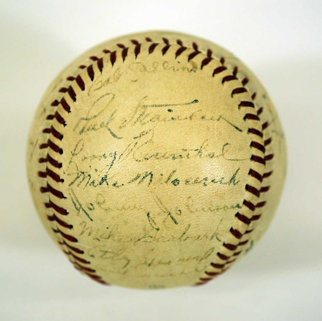 1944 New York Yankees Team Signed Baseball. Contains 27 - 3