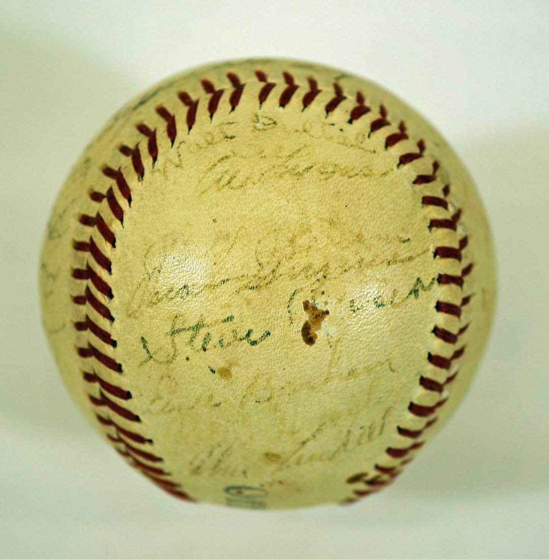 1944 New York Yankees Team Signed Baseball. Contains 27 - 5