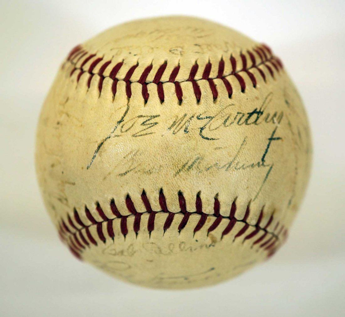 1944 New York Yankees Team Signed Baseball. Contains 27 - 6