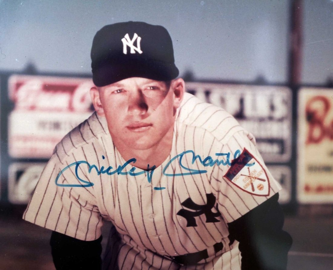 Mickey Mantle Framed 8'' x 10'' Signed Photograph and - 2