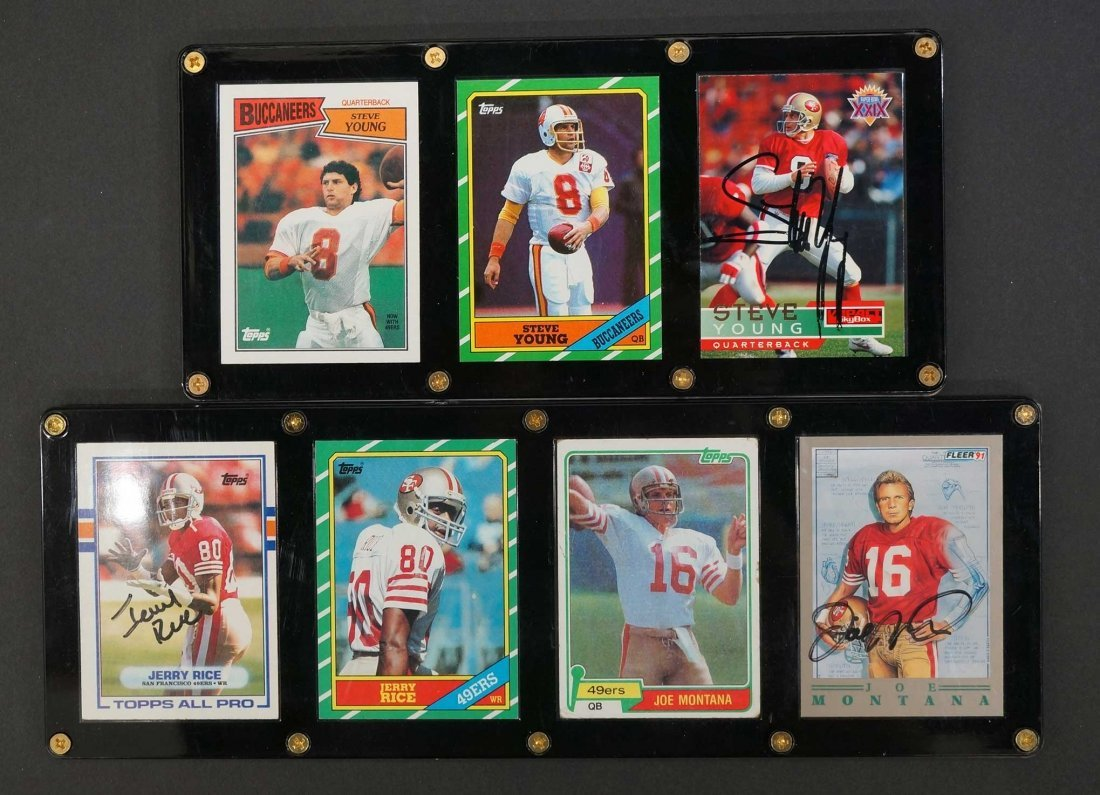 San Francisco 49'ers Display of Signed Rookie Cards,