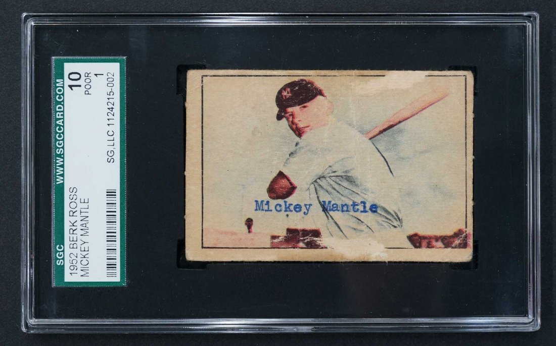 1952 Berk Ross Mickey Mantle Card (SGC 10)