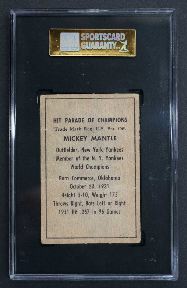 1952 Berk Ross Mickey Mantle Card (SGC 10) - 2