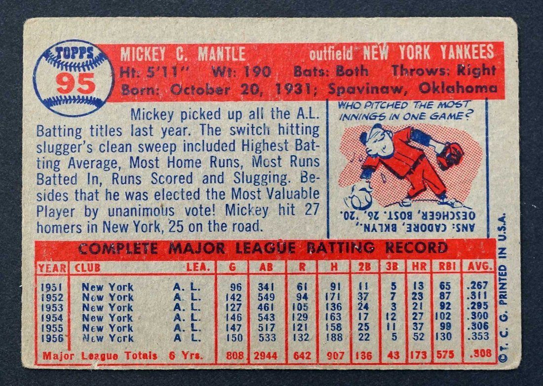 1957 Topps Mickey Mantle G/VG - 2