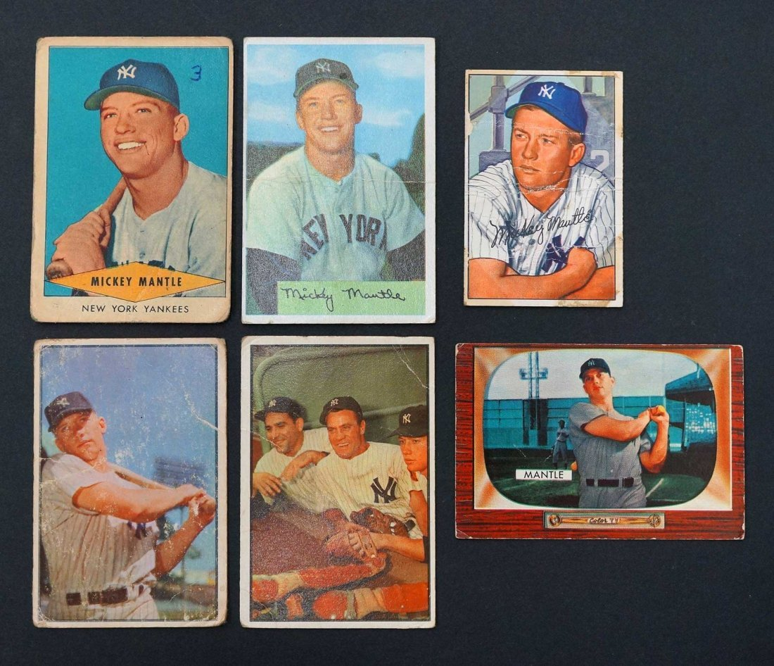 Mickey Mantle Group of (6) Baseball Cards in Various