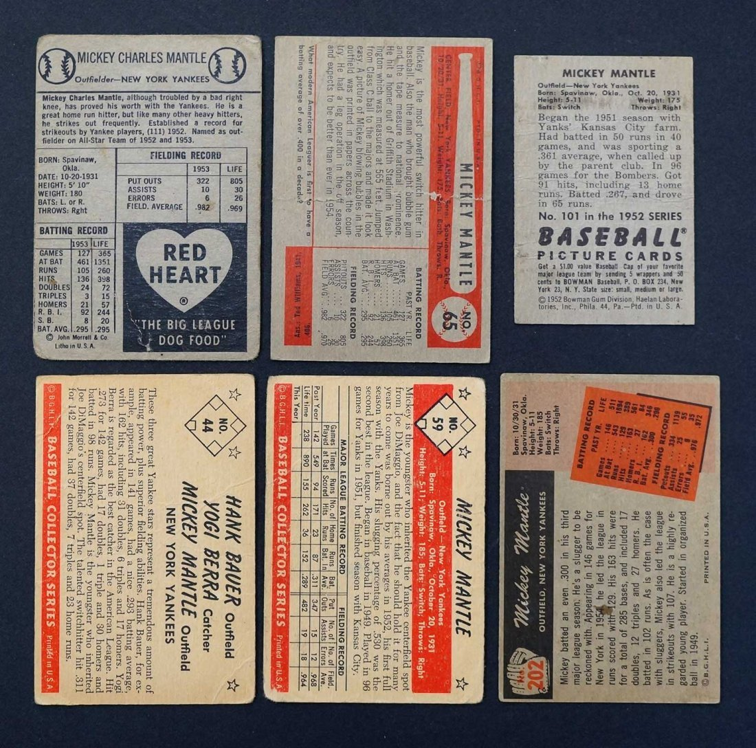 Mickey Mantle Group of (6) Baseball Cards in Various - 2