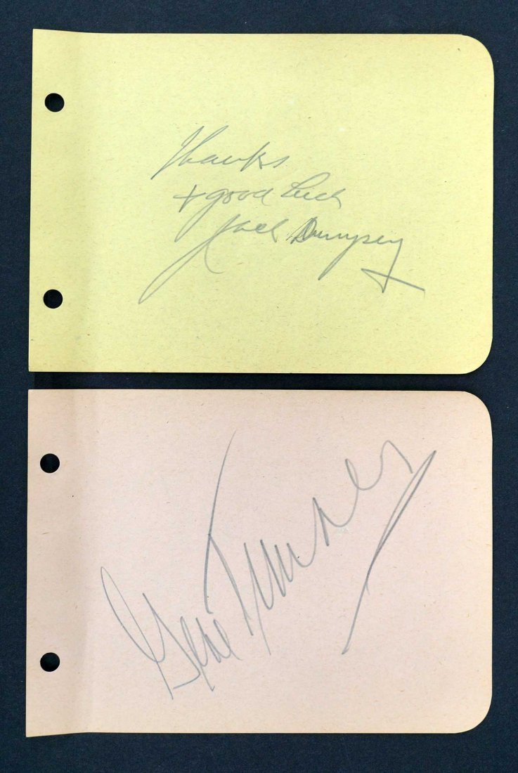 Jack Dempsey and Gene Tunney Autographed Album Pages.