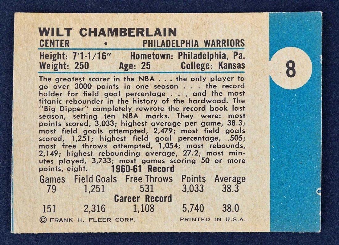 1961 Fleer Wilt Chamberlain #8 High Grade Rookie Card. - 2