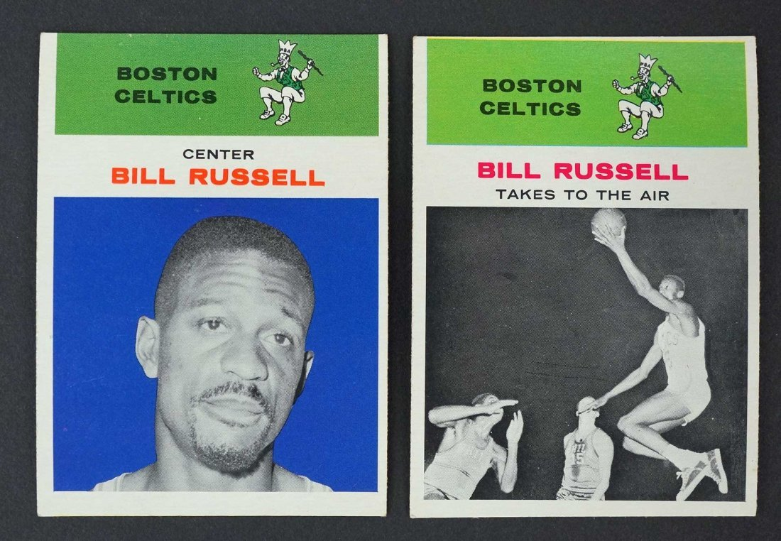 1961 Fleer Bill Russell Cards #38 and #62, EX/EX-MT or