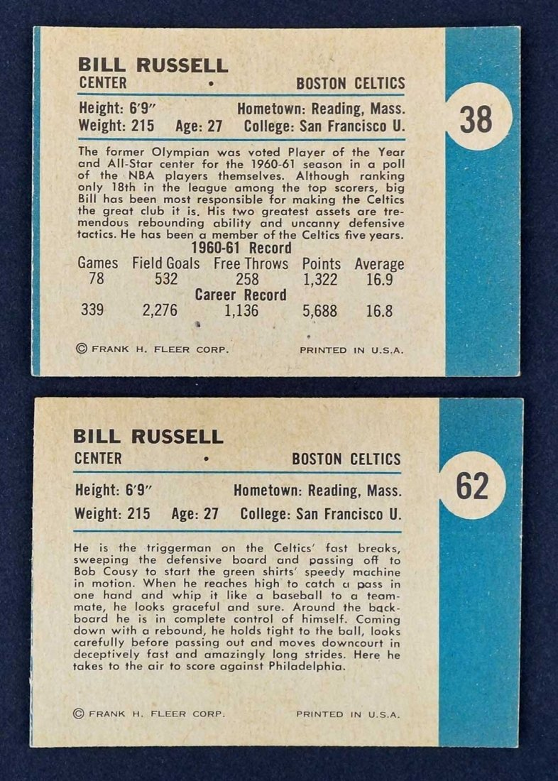 1961 Fleer Bill Russell Cards #38 and #62, EX/EX-MT or - 2