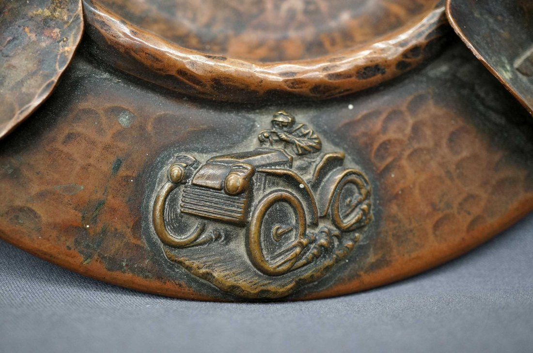 Benedict Arts & Crafts Hammered Copper Auto Racing - 3