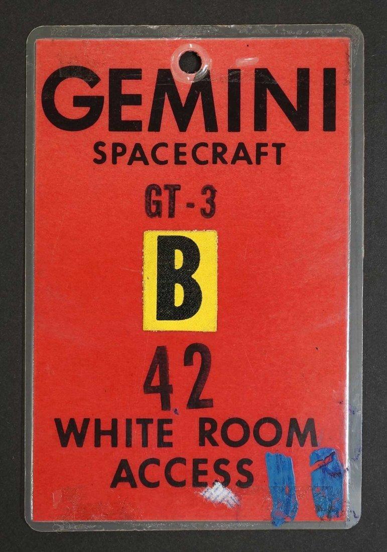 Original Gemini 3 White Room Access Badge. From estate