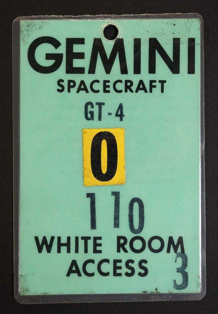 Original Gemini 4 White Room Access Badge. From estate