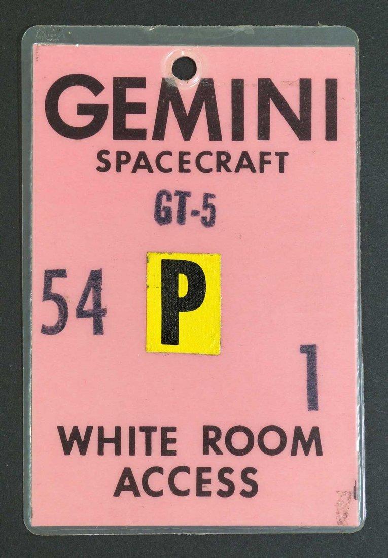 Original Gemini 5 White Room Access Badge. From estate