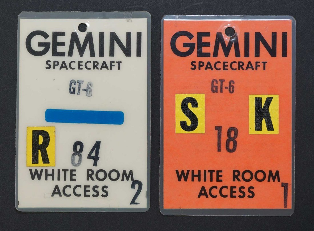 Original Gemini 6 White Room Access Badge. From estate