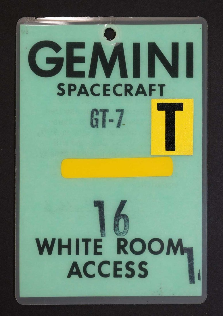 Original Gemini 7 White Room Access Badge. From estate