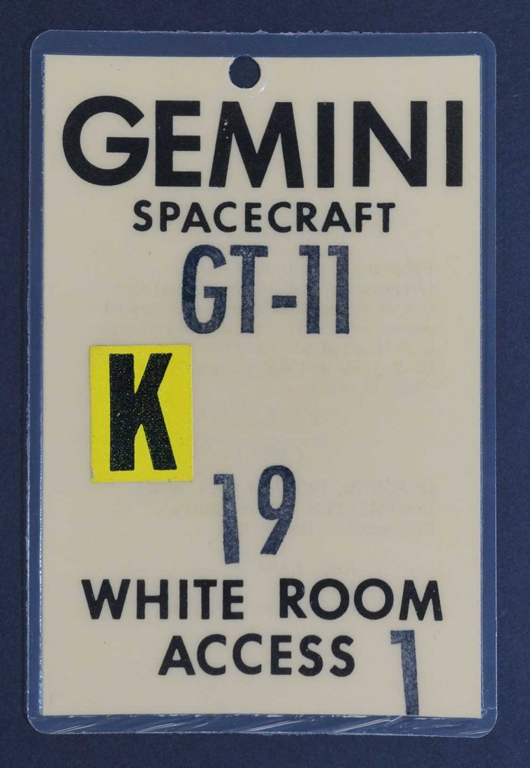 Original Gemini 11 White Room Access Badge. From estate