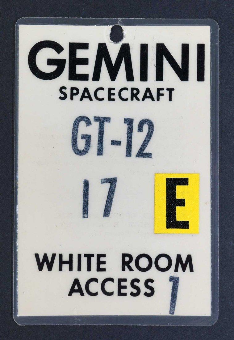 Original Gemini 12 White Room Access Badge. From estate