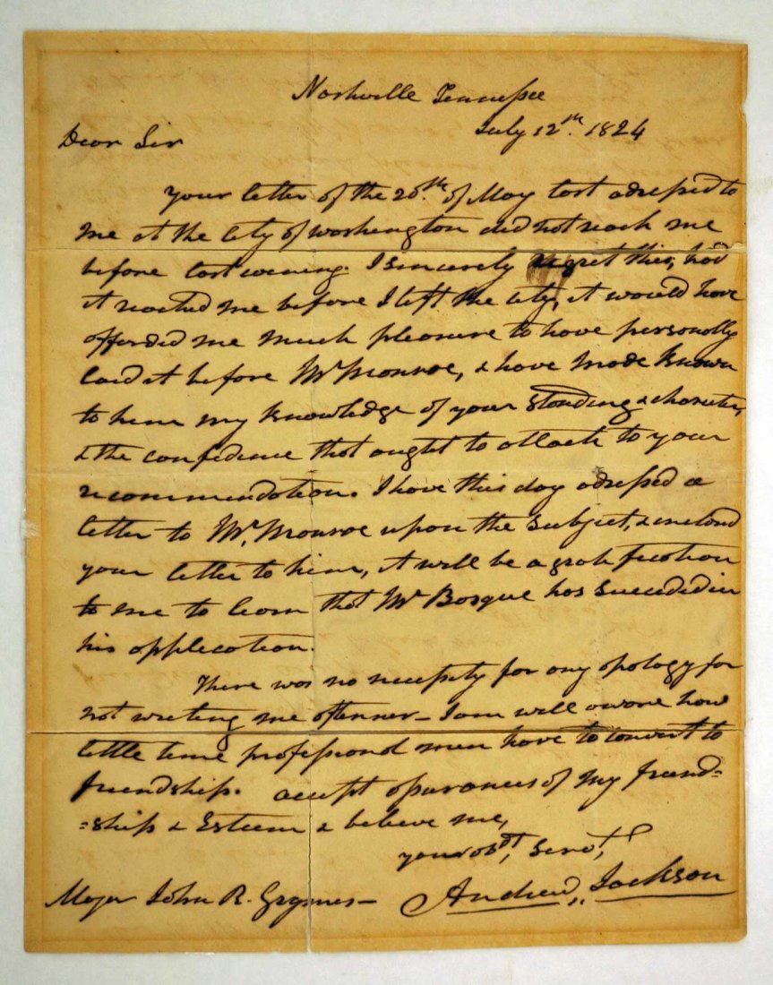 Andrew Jackson Autograph Letter Signed ALS. 8'' x 10'',
