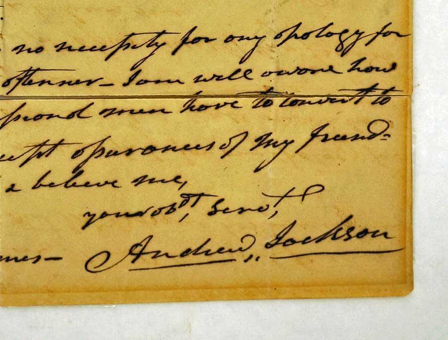Andrew Jackson Autograph Letter Signed ALS. 8'' x 10'', - 2
