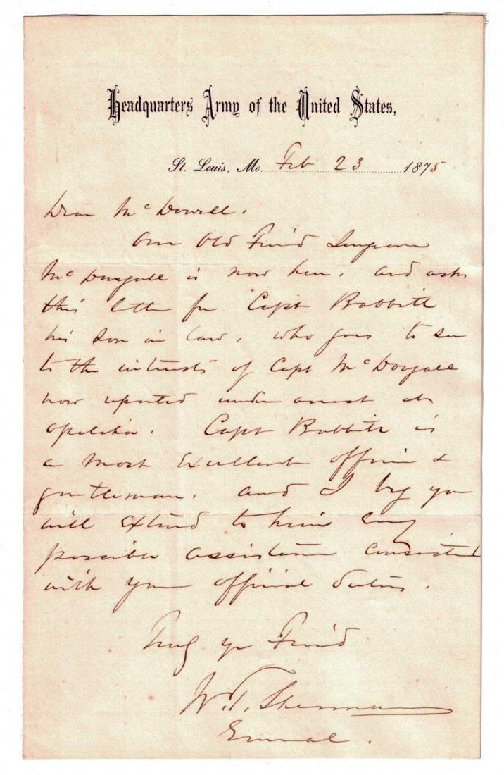 William Tecumseh Sherman Autograph Letter Signed ALS.