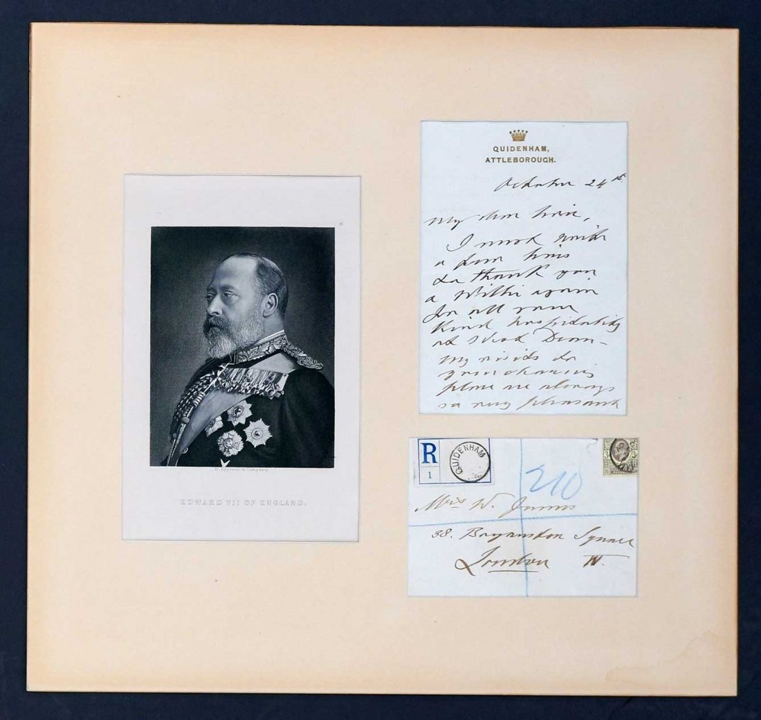 King Edward VII of England Autograph Letter ALS. Triple