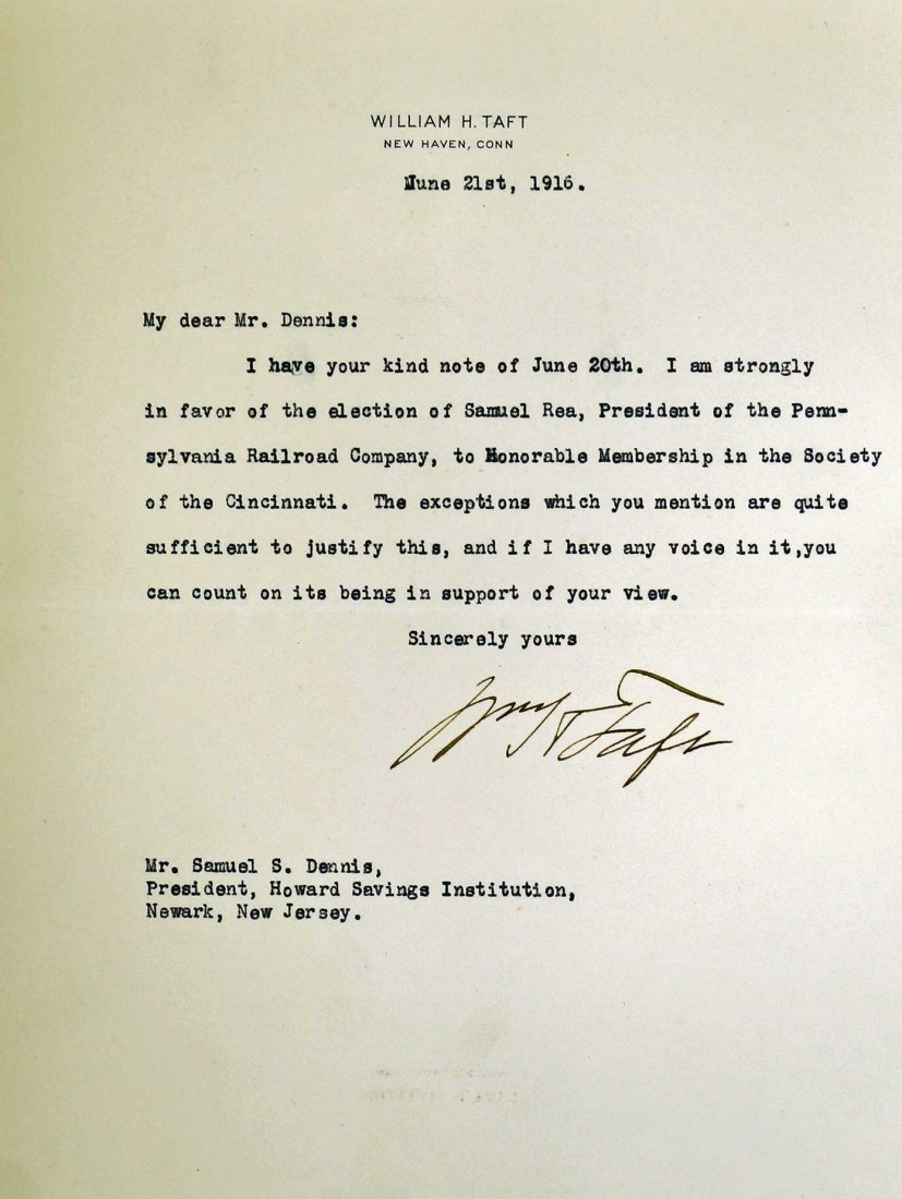 William Howard Taft Autograph Letter Signed ALS. Dated