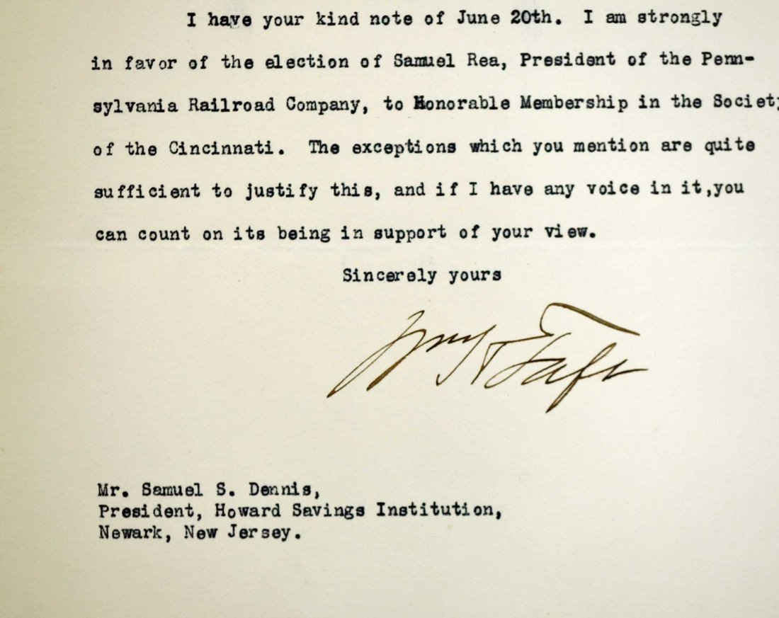 William Howard Taft Autograph Letter Signed ALS. Dated - 2
