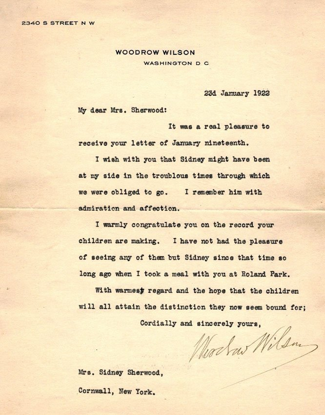 Woodrow Wilson Autograph Letter Signed ALS. Dated 1922,