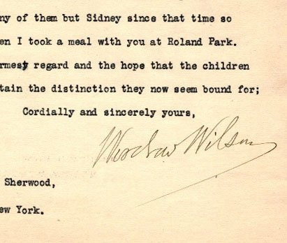 Woodrow Wilson Autograph Letter Signed ALS. Dated 1922, - 2
