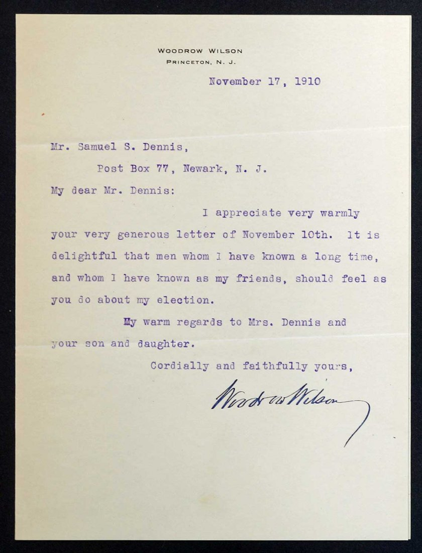 Woodrow Wilson Autograph Letter Signed ALS. Dated 1910,