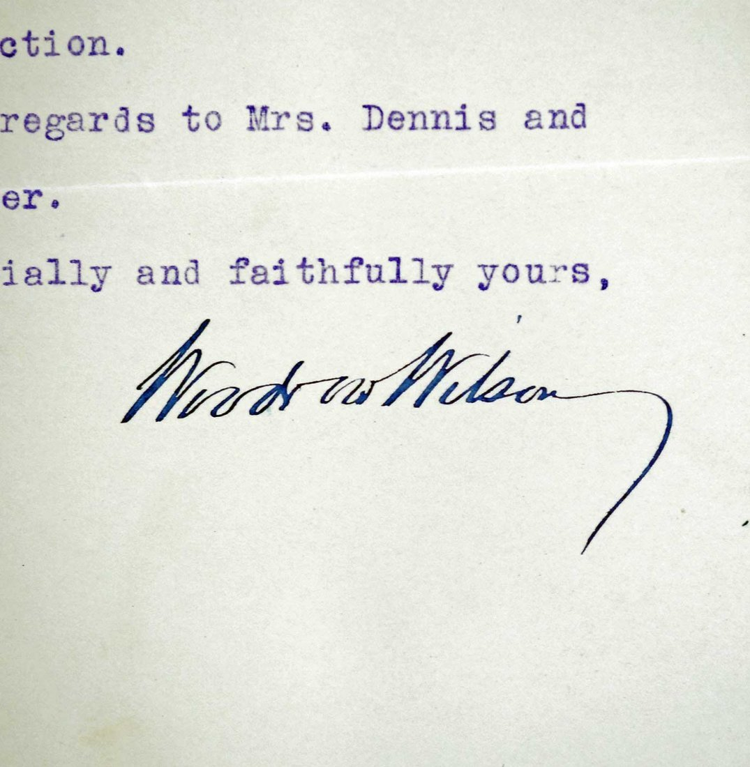 Woodrow Wilson Autograph Letter Signed ALS. Dated 1910, - 2