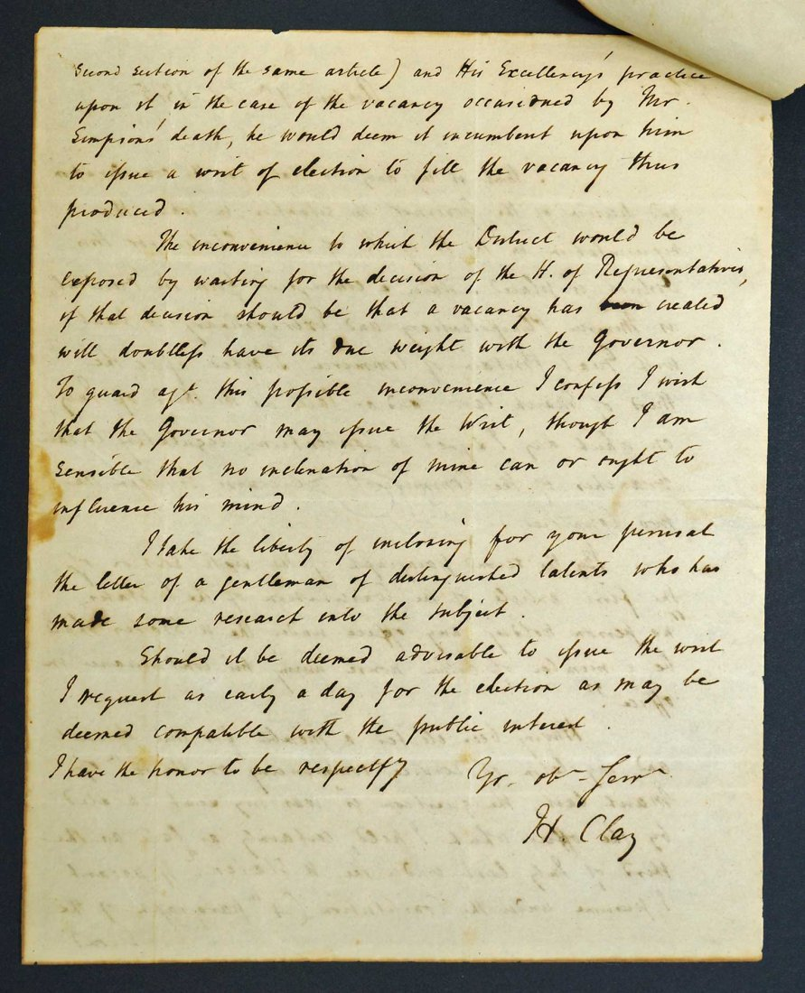 Henry Clay Autograph Letter Signed ALS. An American