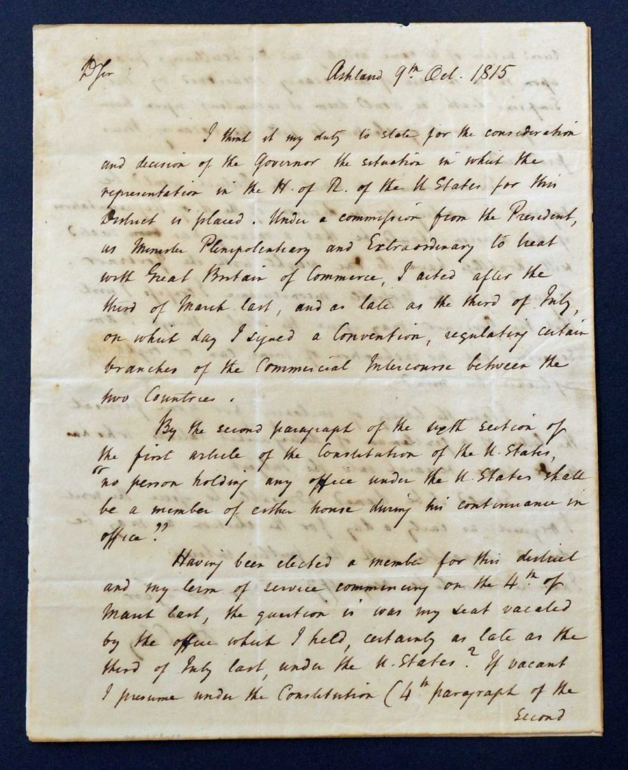 Henry Clay Autograph Letter Signed ALS. An American - 3