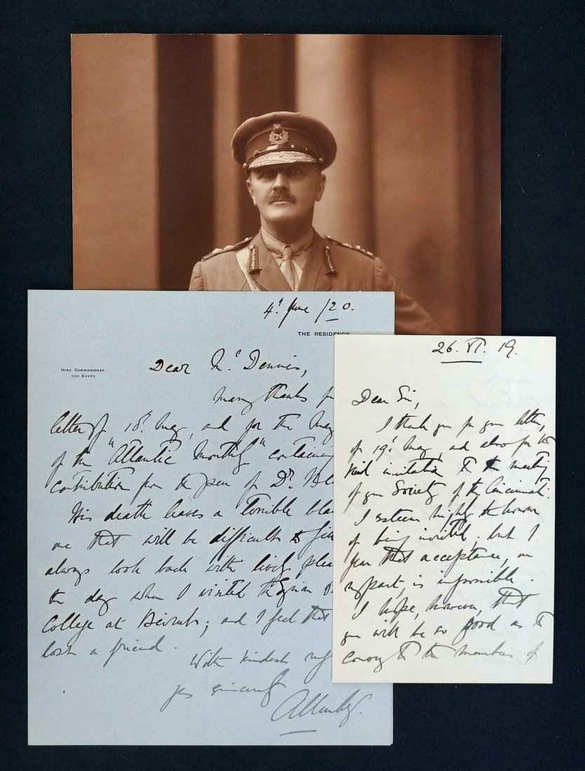 Field Marshall Edmund Allenby Autograph Letter Signed