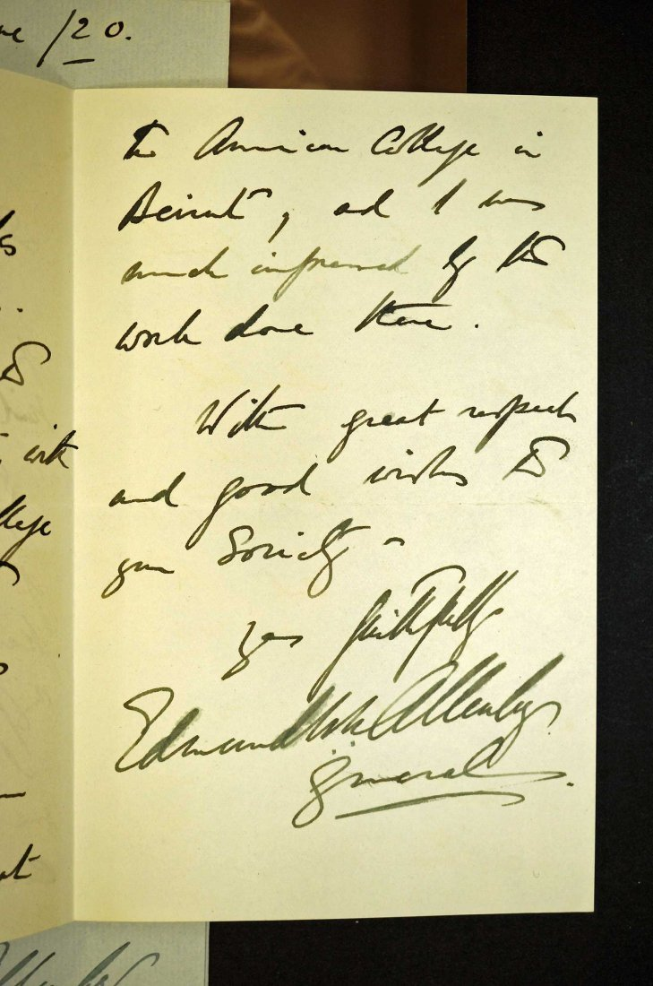 Field Marshall Edmund Allenby Autograph Letter Signed - 2