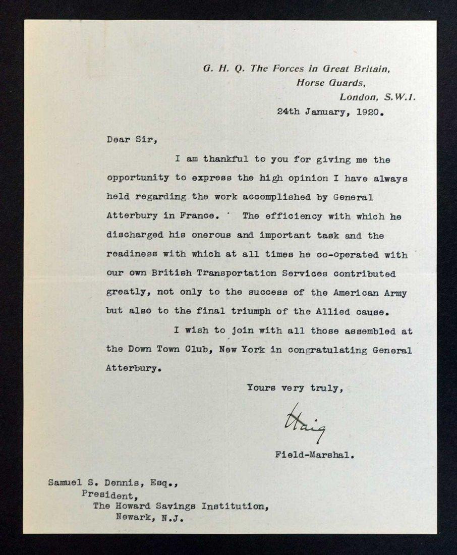 Field Marshall Douglas Haig Autograph Letter Signed