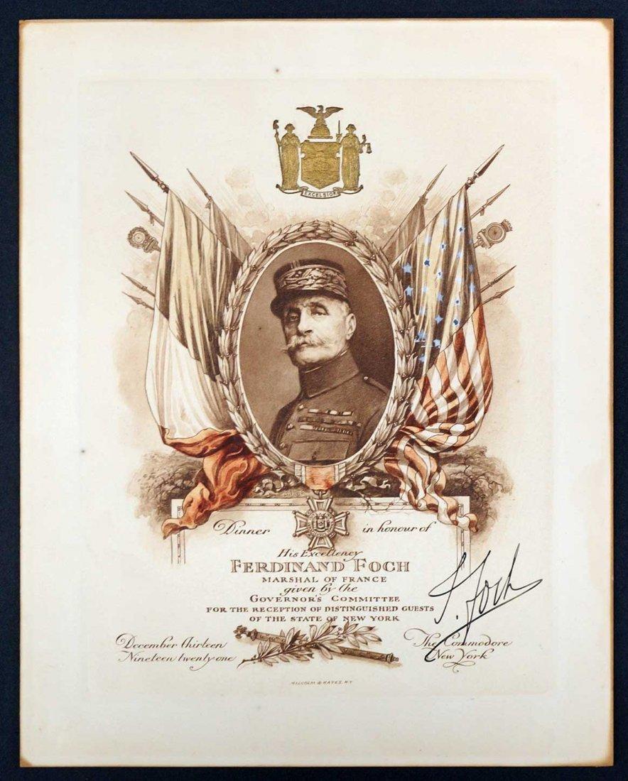 Marshall Ferdinand Foch Autograph Signed Reception
