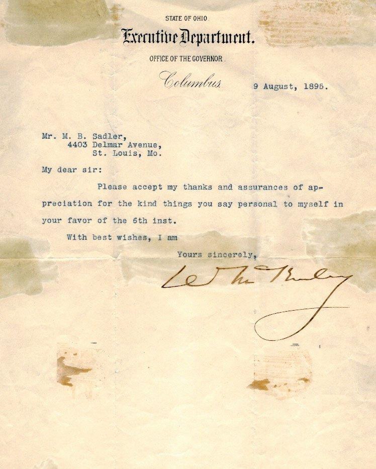 William McKinley Autograph Letter Signed ALS. Fair to