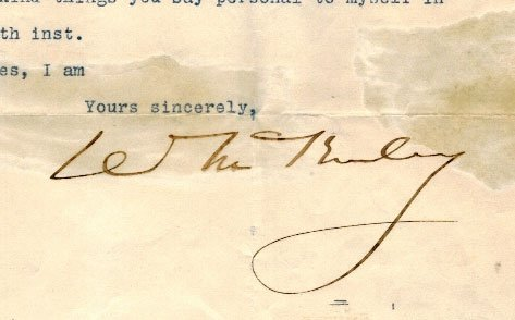 William McKinley Autograph Letter Signed ALS. Fair to - 3