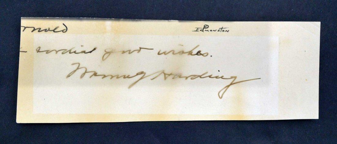 Warren Harding Cut Signature 2'' x 5.5'', Fair