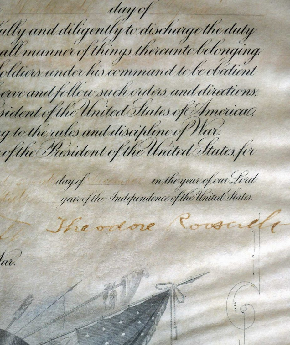 Theodore Roosevelt Framed Autograph Signed Document.