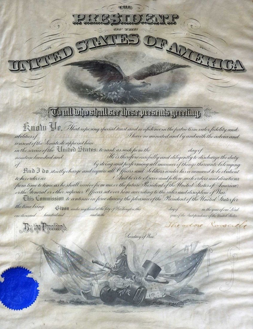 Theodore Roosevelt Framed Autograph Signed Document. - 2