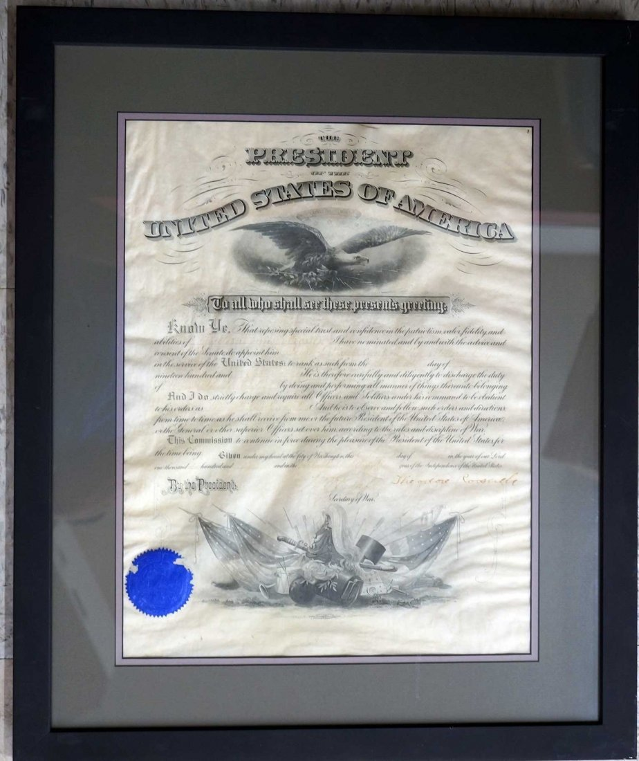 Theodore Roosevelt Framed Autograph Signed Document. - 3
