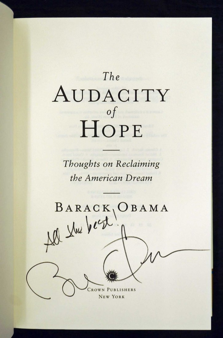 Barack Obama Signed Book {The Audacity of Hope} Signed - 2