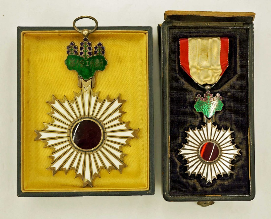 Japan Order of the Rising Sun Medals (2). Larger of the